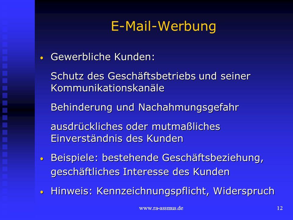 E-Mail-Werbung Gewerbliche Kunden: