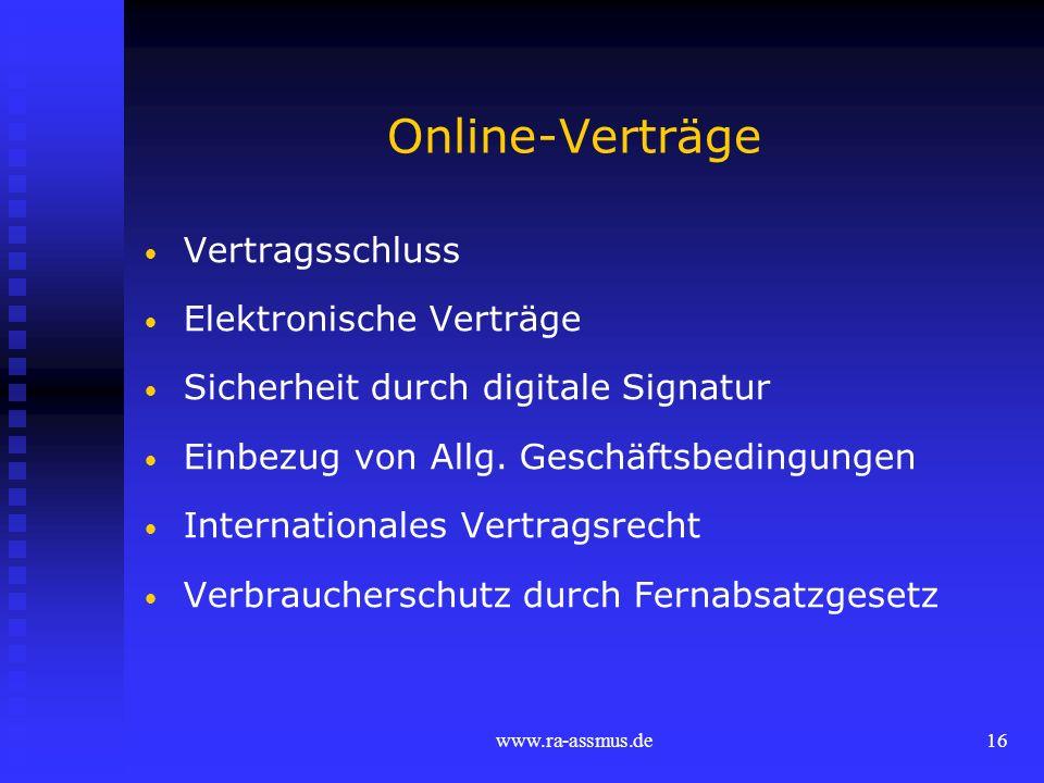 Online-Verträge Vertragsschluss Elektronische Verträge