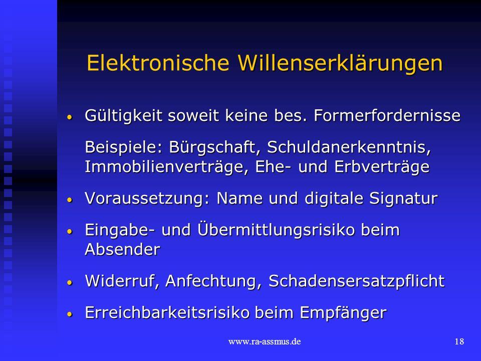 Elektronische Willenserklärungen