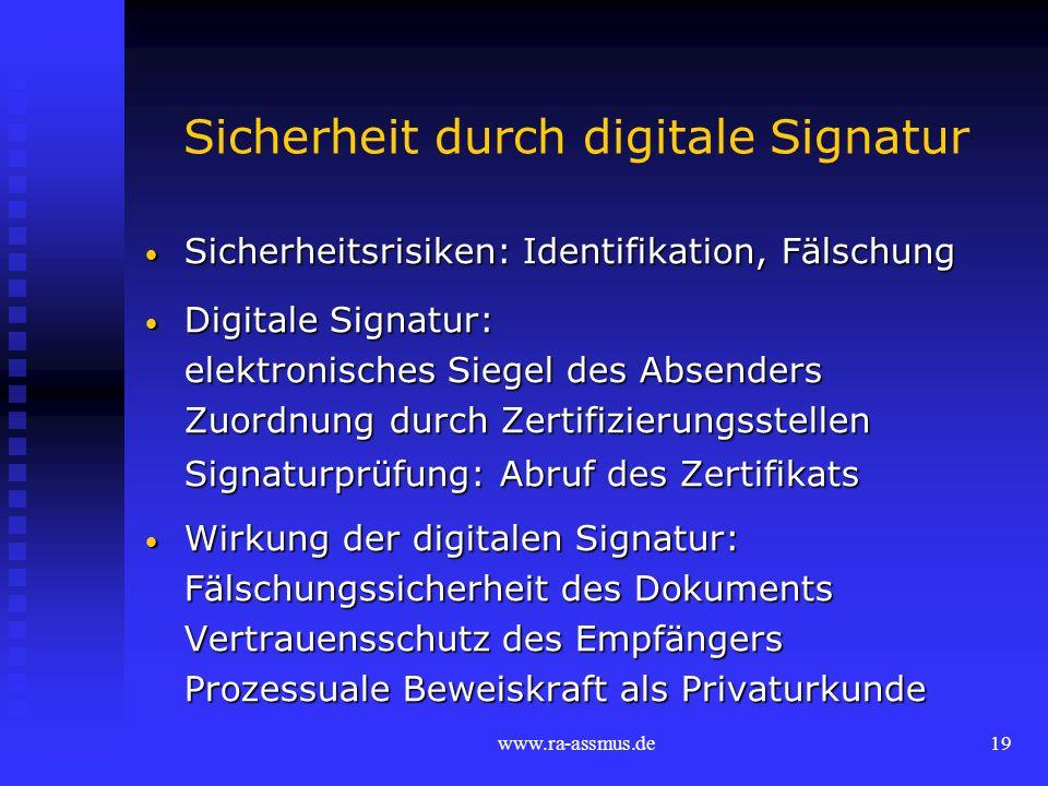 Sicherheit durch digitale Signatur