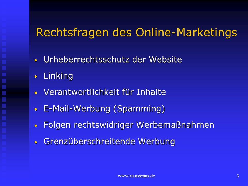 Rechtsfragen des Online-Marketings