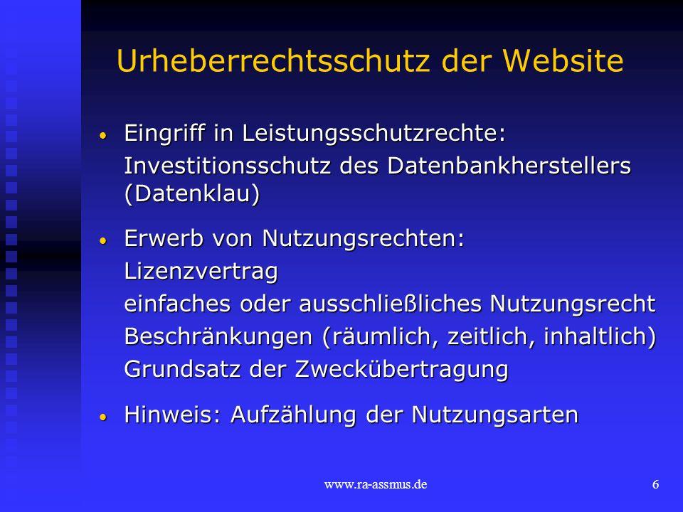 Urheberrechtsschutz der Website