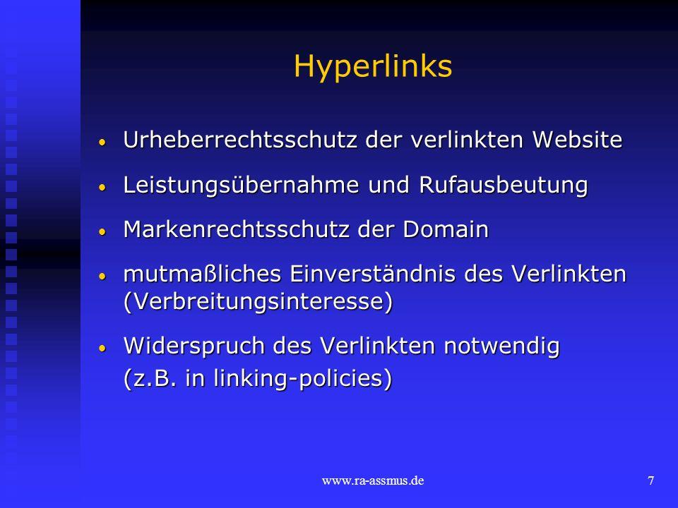 Hyperlinks Urheberrechtsschutz der verlinkten Website