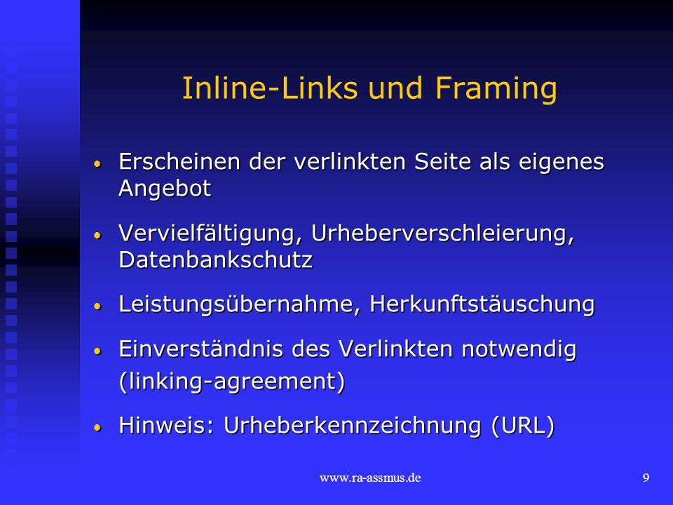 Inline-Links und Framing