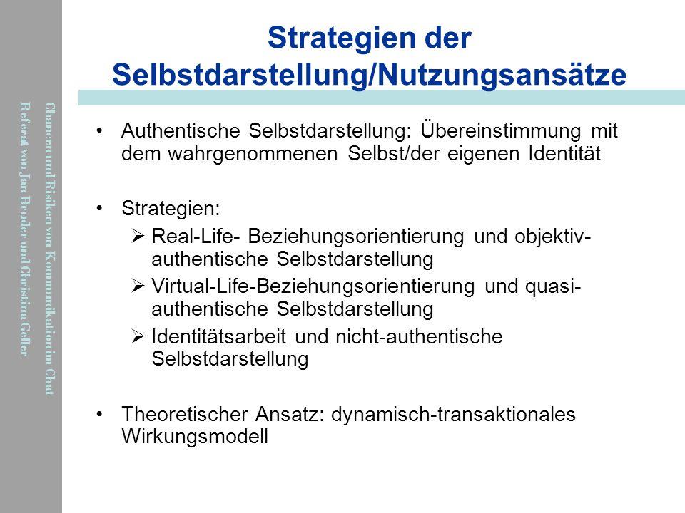 Strategien der Selbstdarstellung/Nutzungsansätze
