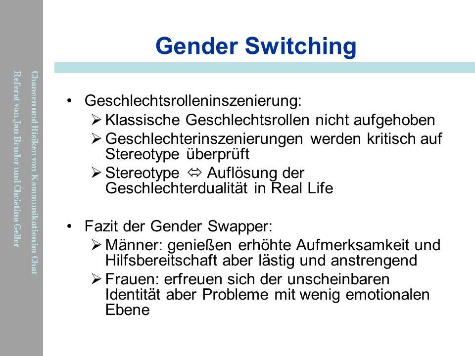 Gender Switching Geschlechtsrolleninszenierung: