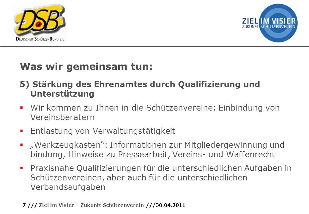 Was wir gemeinsam tun: 5) Stärkung des Ehrenamtes durch Qualifizierung und Unterstützung.