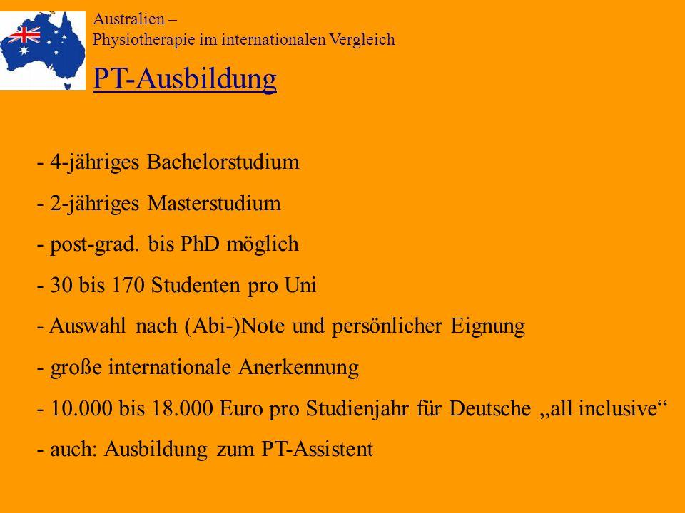 PT-Ausbildung - 4-jähriges Bachelorstudium 2-jähriges Masterstudium