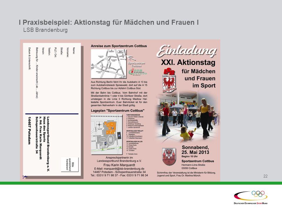 I Praxisbeispiel: Aktionstag für Mädchen und Frauen l LSB Brandenburg