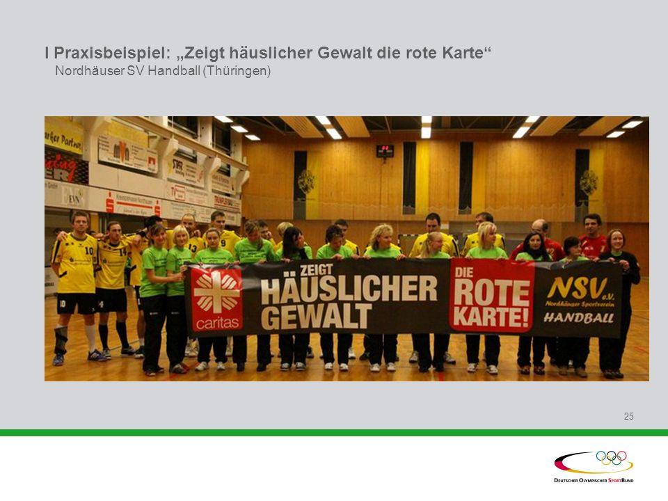 """I Praxisbeispiel: """"Zeigt häuslicher Gewalt die rote Karte Nordhäuser SV Handball (Thüringen)"""