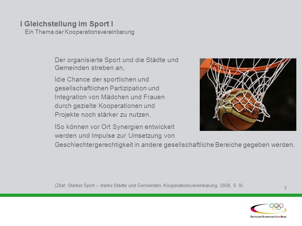 I Gleichstellung im Sport l Ein Thema der Kooperationsvereinbarung
