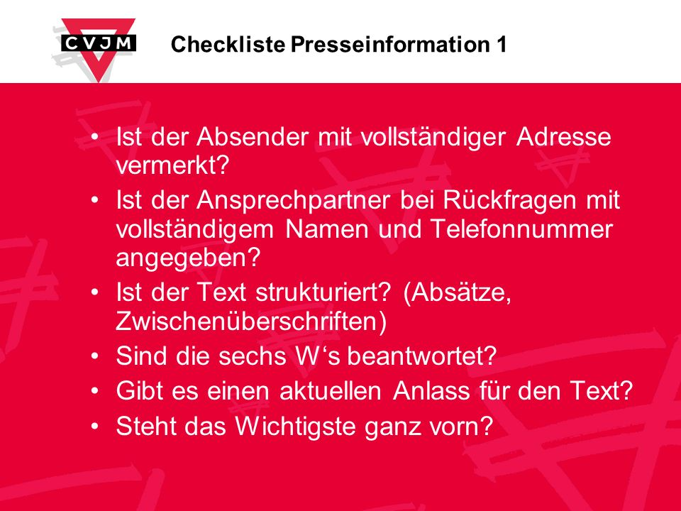 Checkliste Presseinformation 1