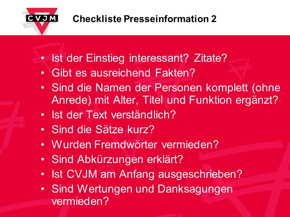 Checkliste Presseinformation 2