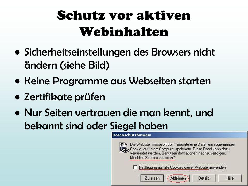 Schutz vor aktiven Webinhalten