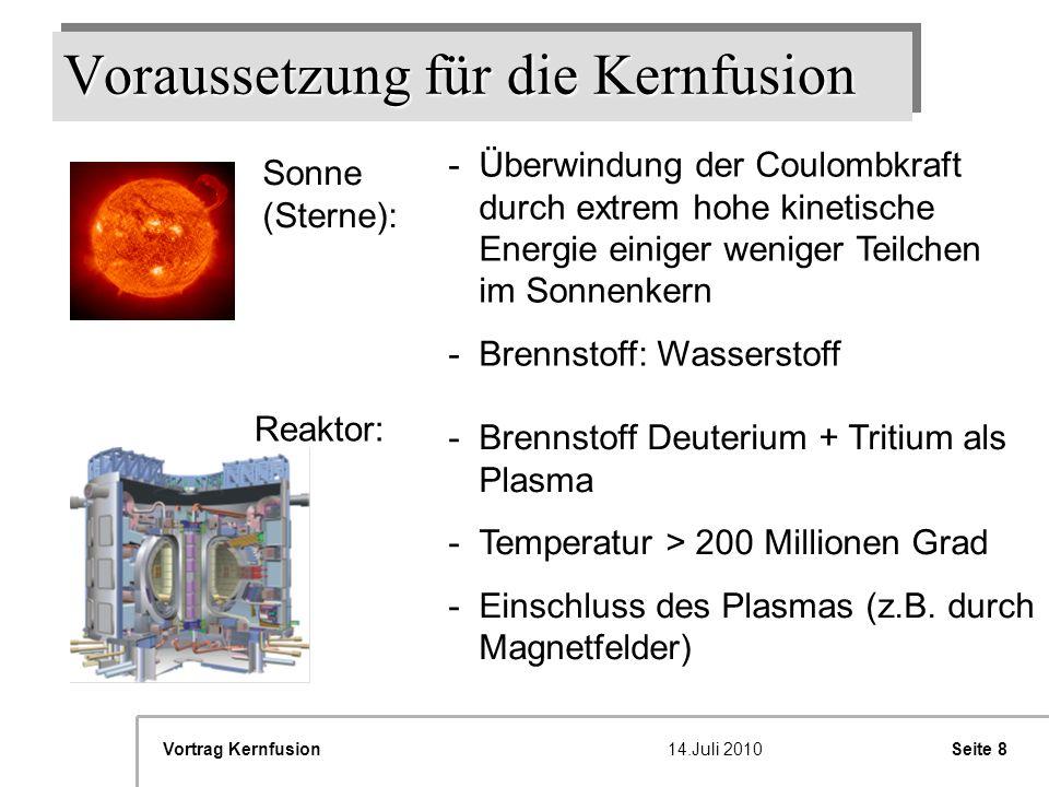 Voraussetzung für die Kernfusion