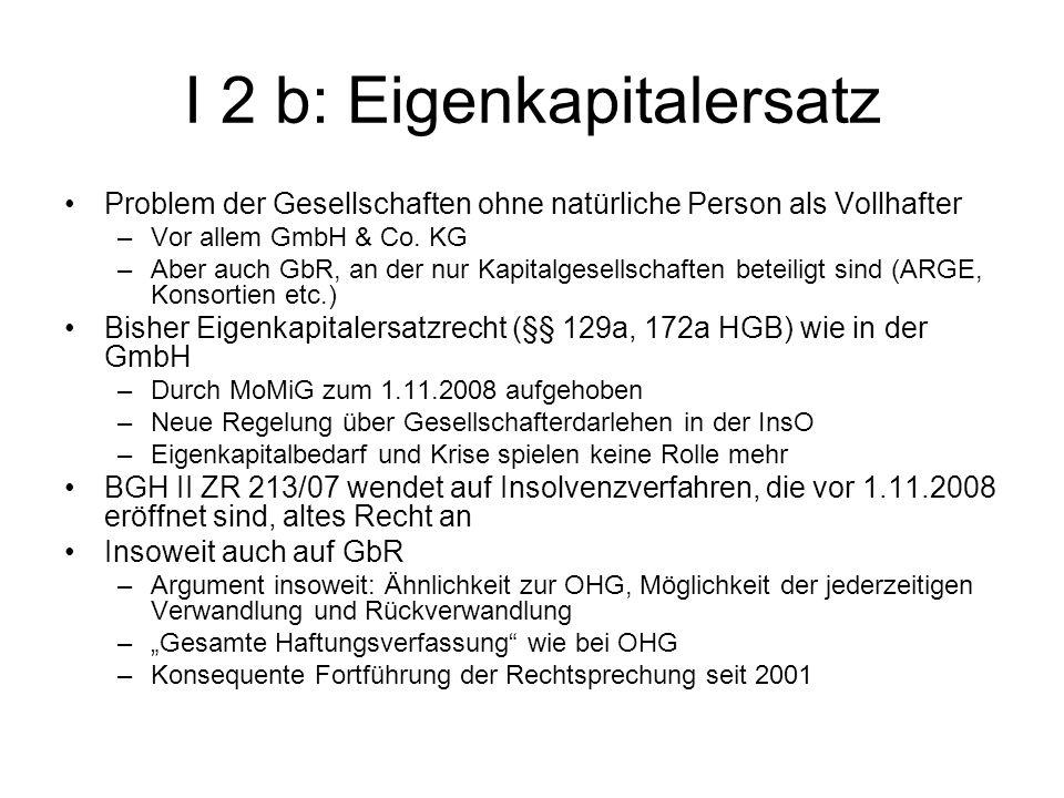I 2 b: Eigenkapitalersatz