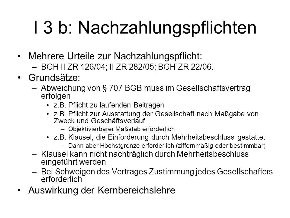 I 3 b: Nachzahlungspflichten