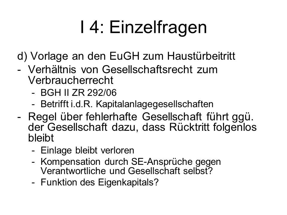 I 4: Einzelfragen d) Vorlage an den EuGH zum Haustürbeitritt