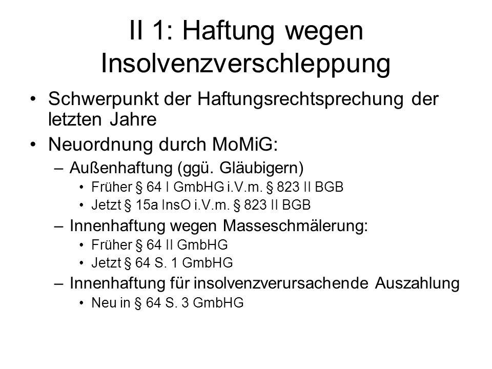 II 1: Haftung wegen Insolvenzverschleppung