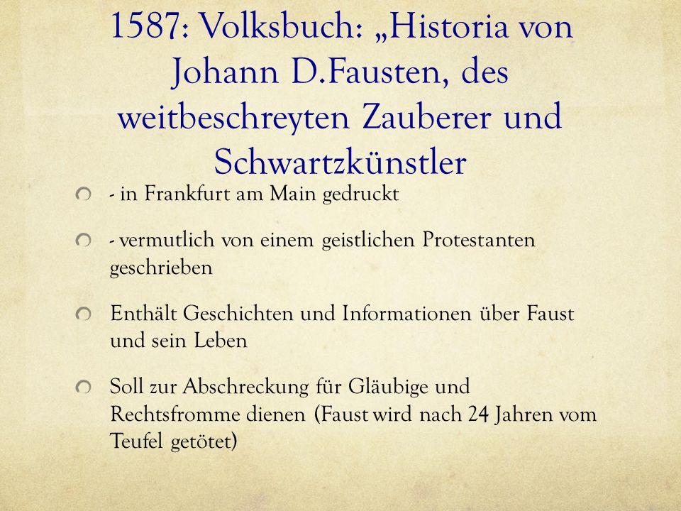 """1587: Volksbuch: """"Historia von Johann D"""