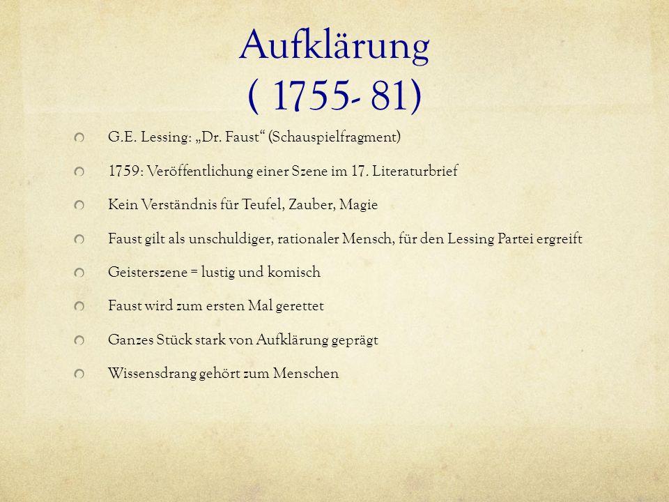 """Aufklärung ( 1755- 81) G.E. Lessing: """"Dr. Faust (Schauspielfragment)"""