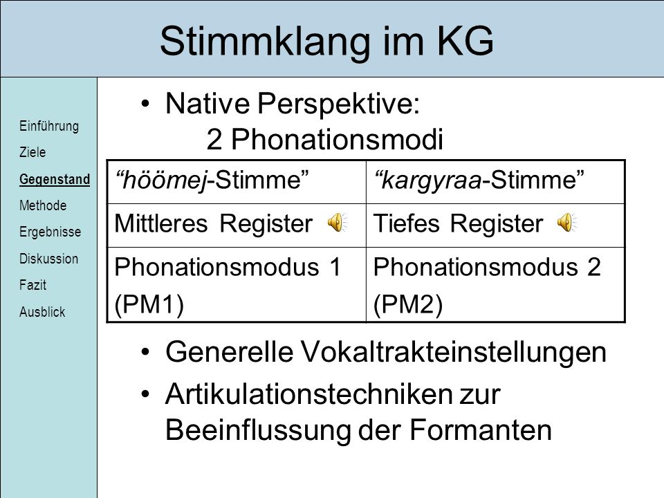 Stimmklang im KG Native Perspektive: 2 Phonationsmodi