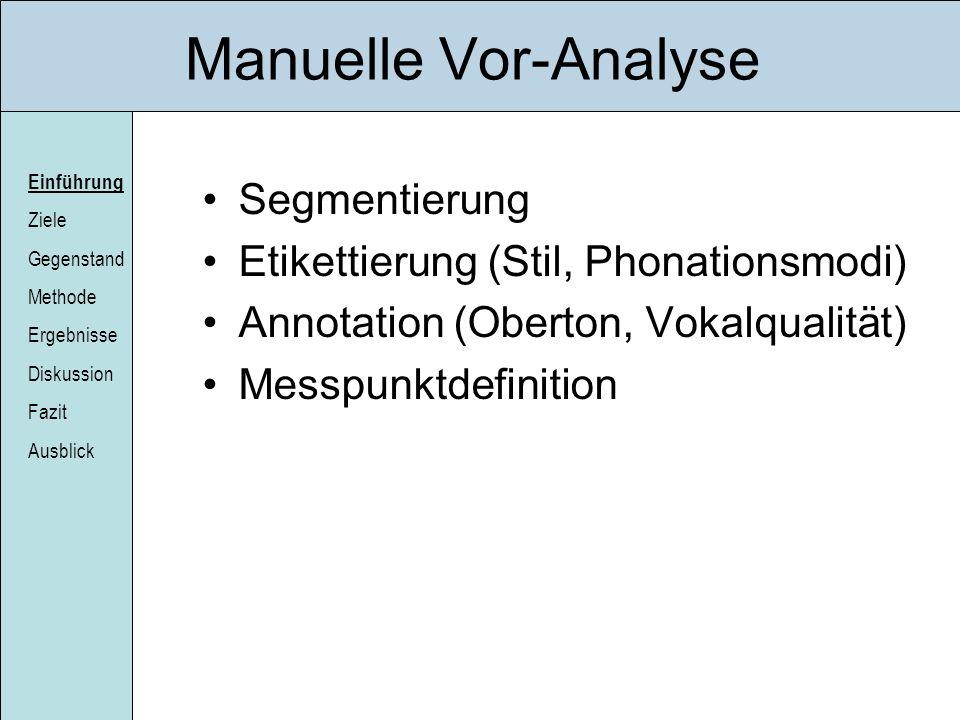 Manuelle Vor-Analyse Segmentierung