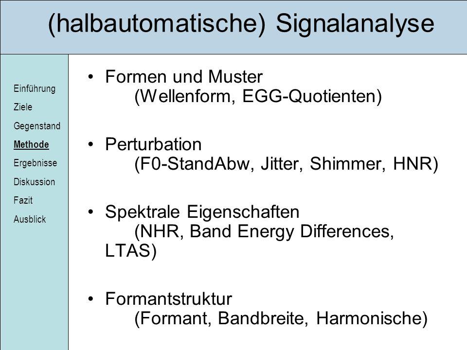 (halbautomatische) Signalanalyse