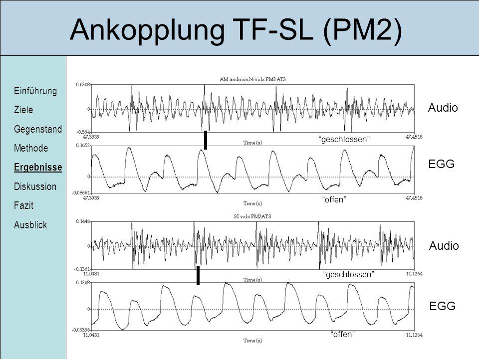 Ankopplung TF-SL (PM2) Audio EGG Audio EGG geschlossen offen