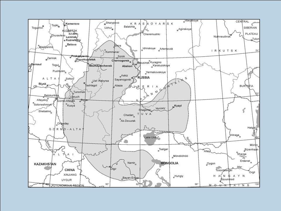 das grau-schattierte Areal zeigt die Region in der KG hauptsächlich zu finden ist.