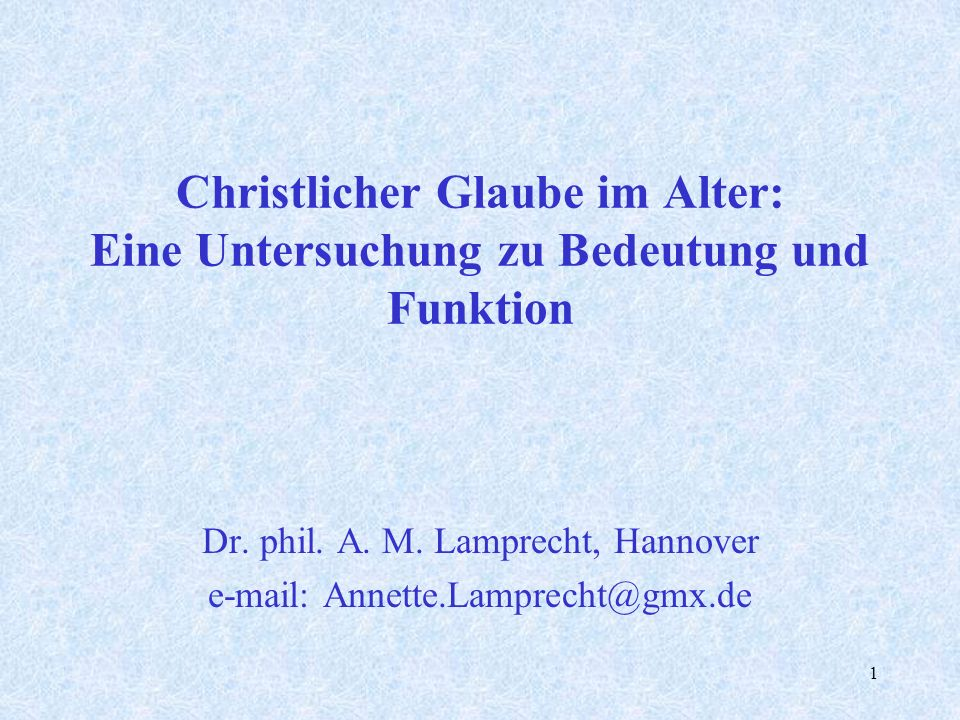 Dr. phil. A. M. Lamprecht, Hannover