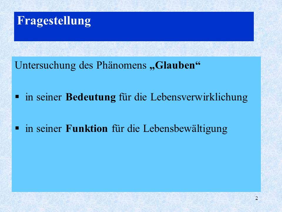 """Fragestellung Untersuchung des Phänomens """"Glauben"""