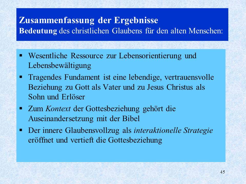 Zusammenfassung der Ergebnisse Bedeutung des christlichen Glaubens für den alten Menschen: