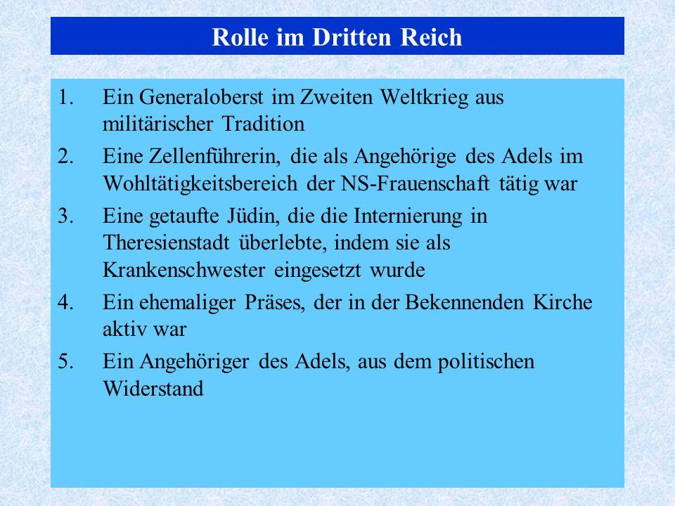 Rolle im Dritten Reich Ein Generaloberst im Zweiten Weltkrieg aus militärischer Tradition.
