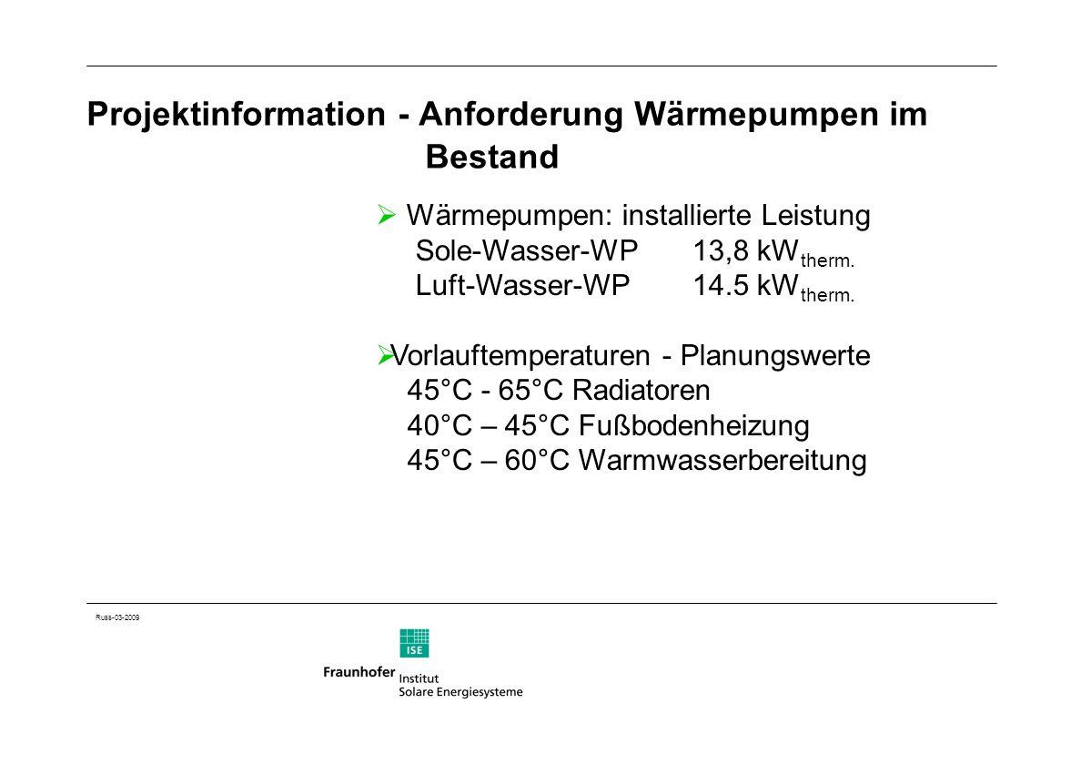Projektinformation - Anforderung Wärmepumpen im Bestand