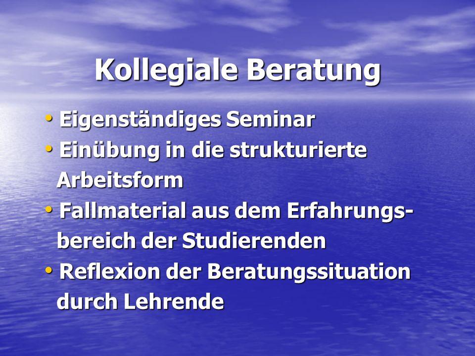 Kollegiale Beratung Eigenständiges Seminar
