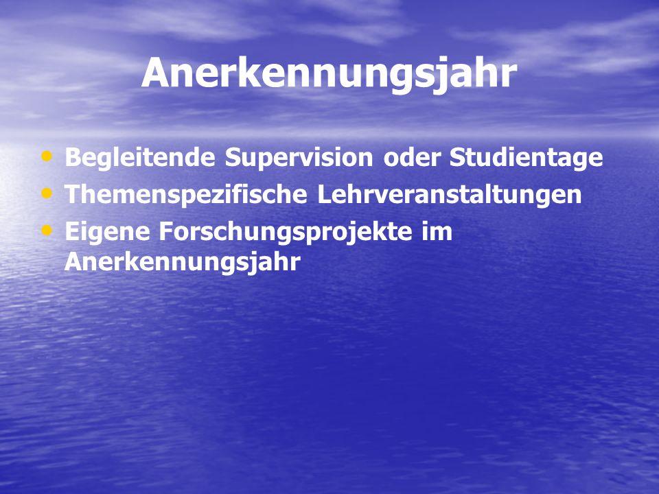 Anerkennungsjahr Begleitende Supervision oder Studientage