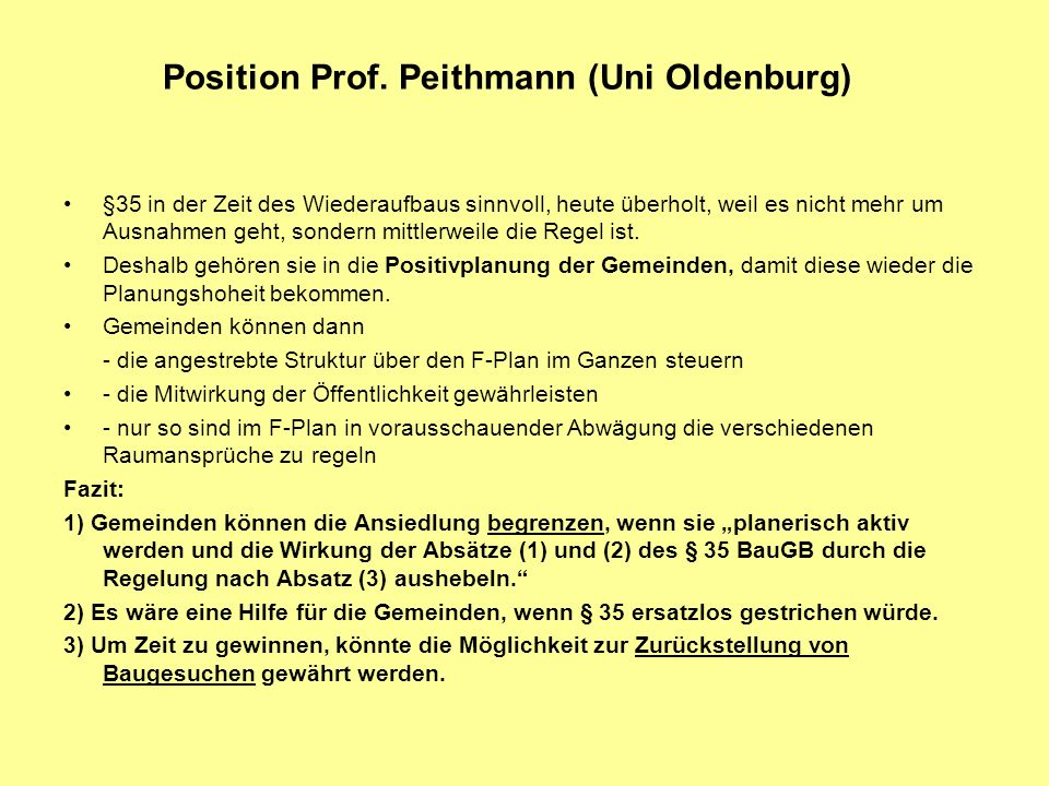 Position Prof. Peithmann (Uni Oldenburg)