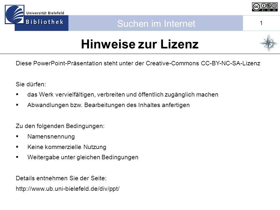 Hinweise zur Lizenz Diese PowerPoint-Präsentation steht unter der Creative-Commons CC-BY-NC-SA-Lizenz.