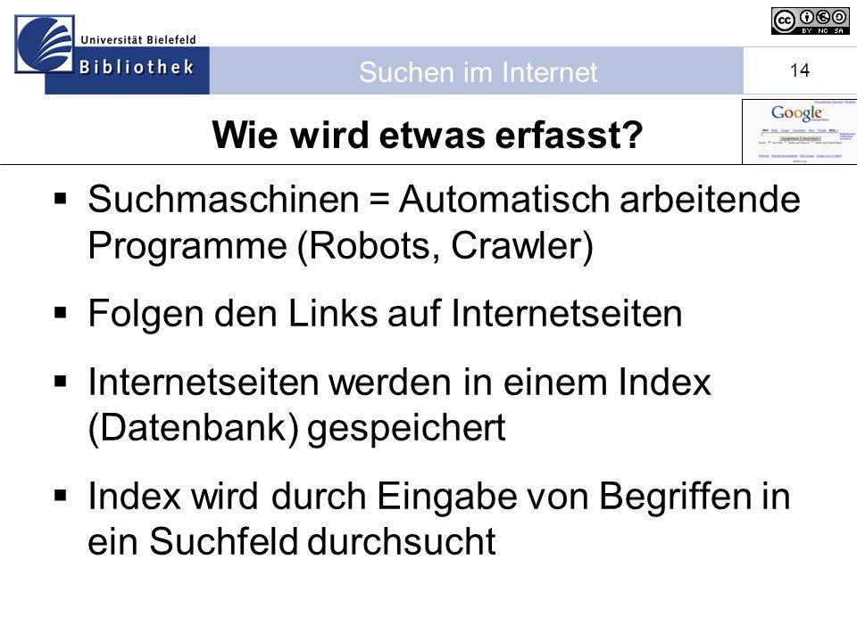 Wie wird etwas erfasst Suchmaschinen = Automatisch arbeitende Programme (Robots, Crawler) Folgen den Links auf Internetseiten.