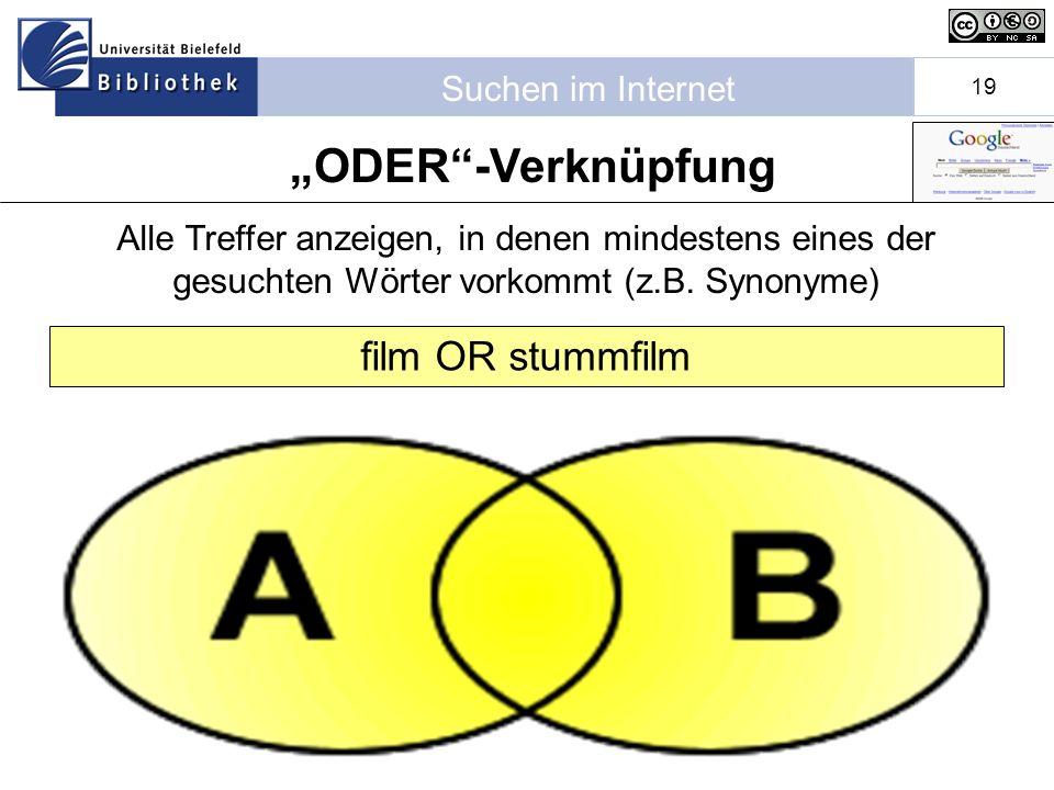 """ODER -Verknüpfung film OR stummfilm"