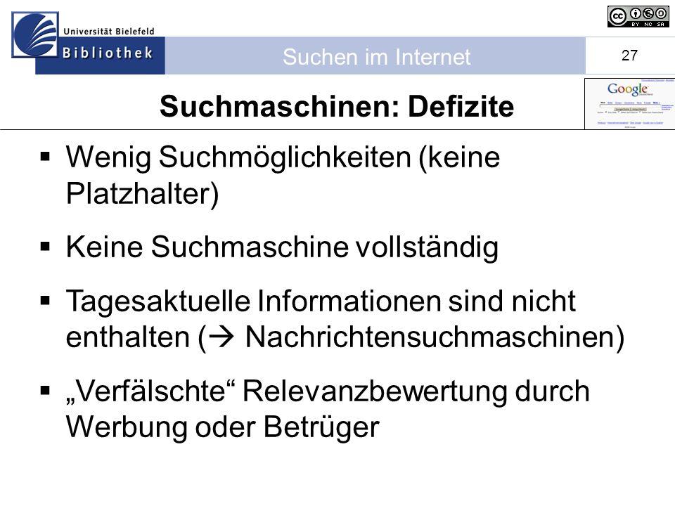 Suchmaschinen: Defizite