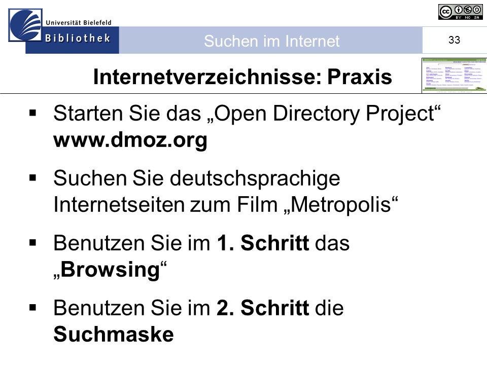 Internetverzeichnisse: Praxis