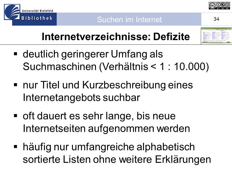 Internetverzeichnisse: Defizite