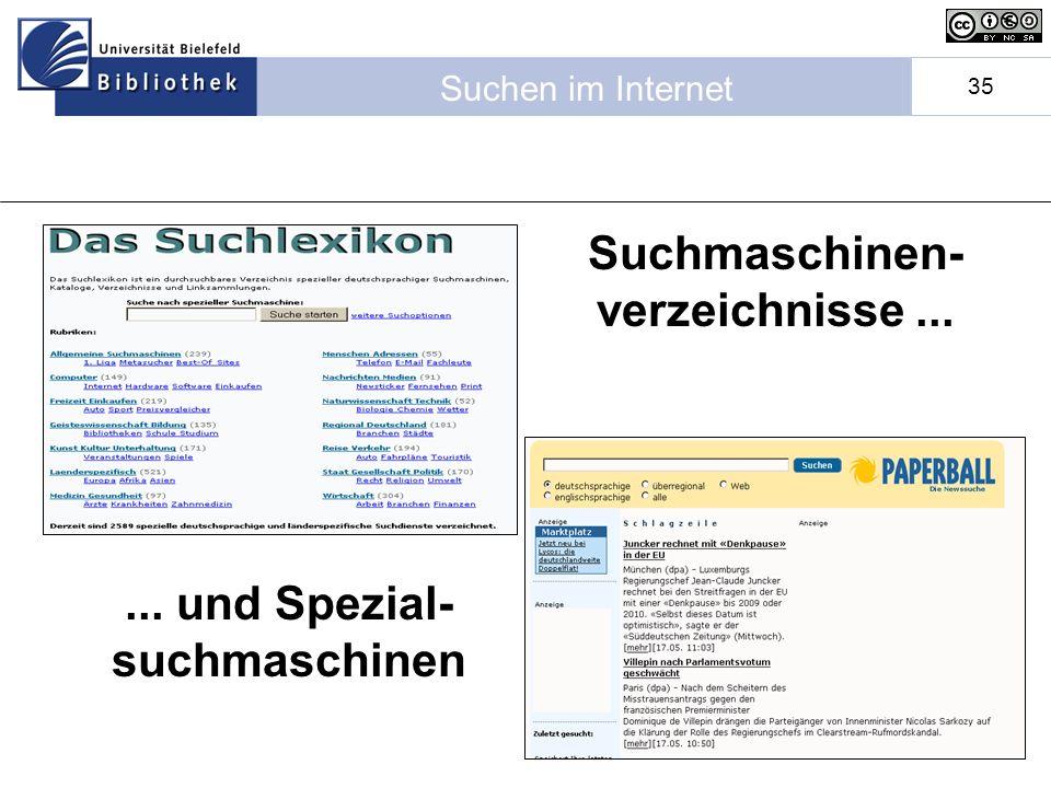 Suchmaschinen-verzeichnisse ... ... und Spezial-suchmaschinen
