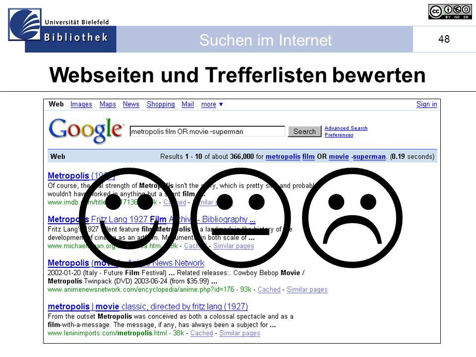 Webseiten und Trefferlisten bewerten
