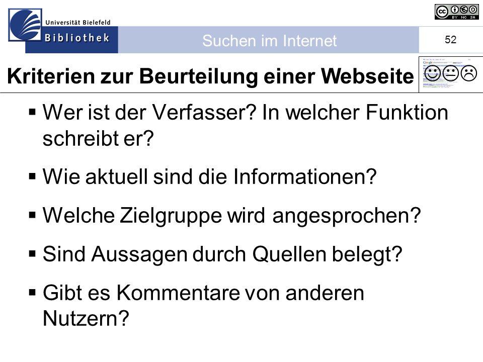 Kriterien zur Beurteilung einer Webseite