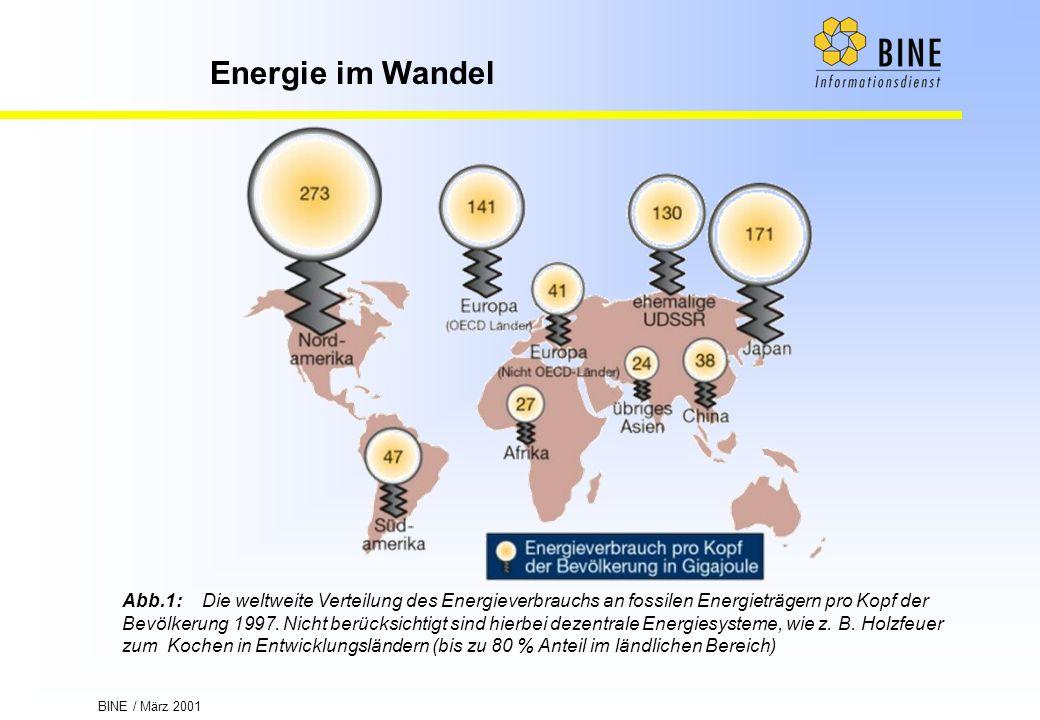 Abb.1: Die weltweite Verteilung des Energieverbrauchs an fossilen Energieträgern pro Kopf der Bevölkerung 1997.