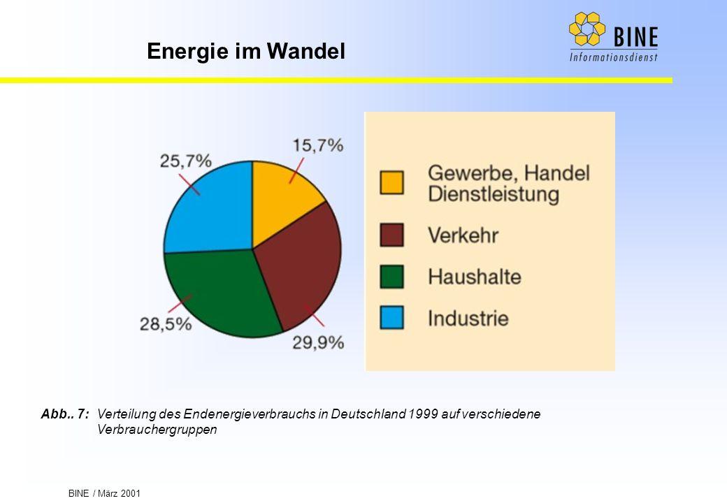 Abb.. 7: Verteilung des Endenergieverbrauchs in Deutschland 1999 auf verschiedene Verbrauchergruppen