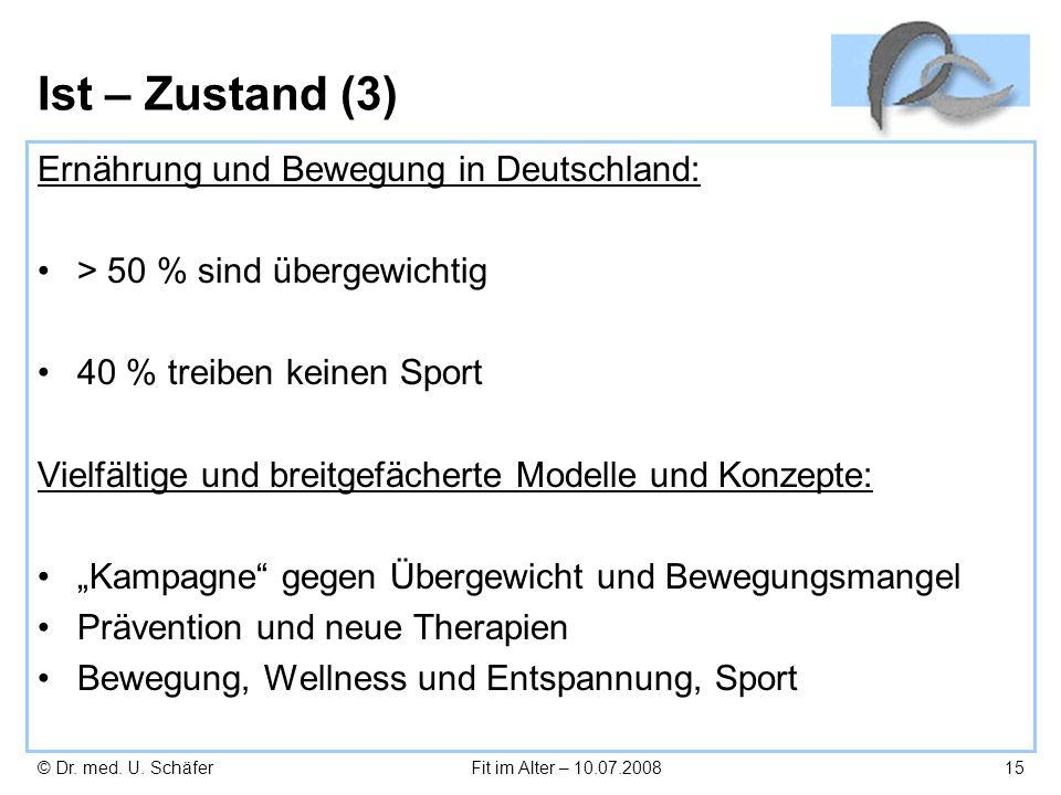 Ist – Zustand (3) Ernährung und Bewegung in Deutschland: